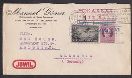 Cuba: Airmail Cover To Germany, 1935, 2 Stamps, Airplane, Luz, Cancel Cigars, Advertorial Jowil Lock Key (minor Damage) - Cuba