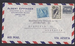 Cuba: Airmail Cover To Germany, 1950s, 3 Stamps, Tobacco, Cigar, Map, Building (traces Of Use) - Cuba