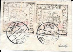 ALBANIE ALBANIA EMISSION DE KORITZA KORCE PAPIER BLANC VALEUR EN SURCHARGE ROUGE YVERT NRS. 37 ET 37A SUR FRAGMENT - Albanie