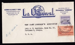 Cuba: Airmail Cover To USA, 1951, 2 Stamps, Airplane, Building, Nice Logo (minor Discolouring, See Scan) - Cuba