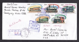Cuba: Registered Cover To USA, 2001, 5 Stamps, Old Trains, Steam Train, Censor Cancel At Back?, Rare Use (traces Of Use) - Cuba