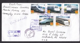 Cuba: Registered Cover To USA, 2001, 5 Stamps, High Speed Trains Japan, Censor Cancel At Back?, Rare Use (traces Of Use) - Cuba