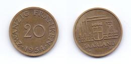 Saarland 20 Franken 1954 - Sarre
