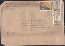 Cuba: Registered Cover To Netherlands, 1995, 3 Stamps, Painting, Nude, Venus, Rare Real Use (damaged: Fold & Crease) - Cuba