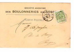 CP TP Armoiries 5c En-Tête S.A.Boulonneries Gosselies C.Ambulant Charleroi-Manage-BXL 16/7/1910 V.Bruges C.d'arrivée - Marcophilie
