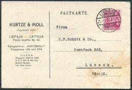 1937 Latvia Liepaja Kurtze & Moll Postcard - Lubeck - Latvia