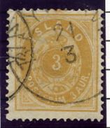 ICELAND 1882 3 Aurar Perforated 14:13½ Used.  Michel 12A - 1873-1918 Danish Dependence