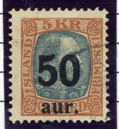 ICELAND 1925 50 Aur. On 5 Kr.surcharge Used.  Michel 113 - Used Stamps