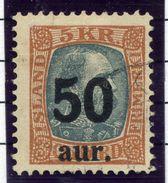 ICELAND 1925 50 Aur. On 5 Kr.surcharge Used.  Michel 113 - 1918-1944 Autonomous Administration