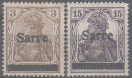 Saarland, 1920, Saargebiet – Abstimmungsgebiet, Germania, Aufdruck Sarre, 3, 15 Pf., Ungebraucht MH - 1920-35 Società Delle Nazioni