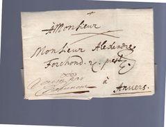 1683 RECU DE PAR NAME From Bruxelles Ship Letter To Anvers Alexandre Forchond (EO1-26) - 1621-1713 (Países Bajos Españoles)