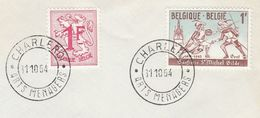 1964 BELGIUM COVER FENCING Sport CONFERIE ST MICHEL GILDE, Stamps EVENt Pmk ARTS MENAGERS CHARLEROI - Esgrima