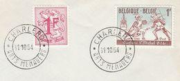1964 BELGIUM COVER FENCING Sport CONFERIE ST MICHEL GILDE, Stamps EVENt Pmk ARTS MENAGERS CHARLEROI - Fechten