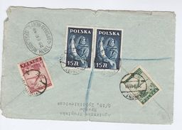 1948 Registered POLAND Multi FISH Stamps COVER (Front) Krakow To Hemel Hempstead GB - Fishes