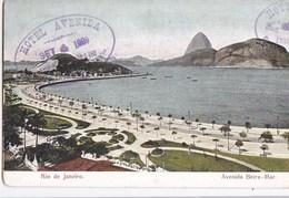 BRESIL  BRASIL RIO De JANEIRO CPA   AVENIDA BEIRA MAR  Vista Do PAO D' ASSUCAR Selo Do Correio 1909 - Rio De Janeiro