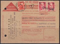 Carte Contre-remboursement Taxée De Tours, Affranchissement Gandon N°827 X2 Annulés Par Griffe Linéaire, 6 Mai 1949. - Postmark Collection (Covers)