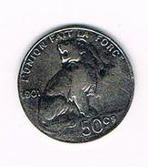 ) LEOPOLD II  50 CENTIMES  1901 FR ZILVER  ZITTENDE LEEUW - 06. 50 Centimes