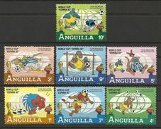 Anguilla 1982 Spain Espana World Cup Soccer Football Disney Cartoon Animation Games Sports Stamps (19) Michel 501-507 - Childhood & Youth