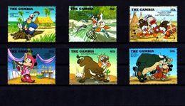 Gambia 1995 Disney Mickey MINNIE Cartoon Animation COWBOY Indian Donald Childhood Art Stamps (18) SC#1698-1703 - Disney