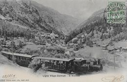 SAINT NICOLAS / ST.NIKLAUSEN - Dampfzug Bergwerts Richtung Zermatt Anno 1905  -RRR- - VS Valais