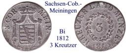 DL-1812, 3  Kreutzer,  Sachsen-Meiningen - Piccole Monete & Altre Suddivisioni