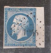 Empire N° 14 BORD DE FEUILLE Obl Pc 1246 De FAY LE FROID , Haute Loire, Indice 17, SUPERBE - 1853-1860 Napoleon III