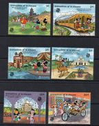 St. Vincent 1989 GRENADINES Mickey Donald Duck Disney Visit India Cartoon Animation Childhood Art Movie Stamps (11) MNH - Childhood & Youth