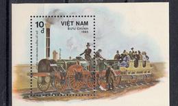 Train, Eisenbahn, Locomotive, Railway: Vietnam 1985 Mi Blok  Nr 41 De Adler Postfris - Trains