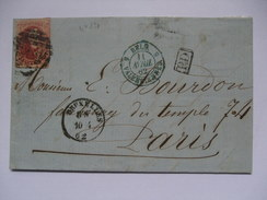 BELGIUM - Medallions No.12 - Entire 1862 40 Cents Bruxelles To Paris  - Valenciennes Mark And PD Cachet And Ambidu Midi - 1858-1862 Medallions (9/12)