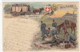 Militär-Gruss - Samariter-Rotes Kreuz - Litho - 1901     (P-87-10206) - Souvenir De...