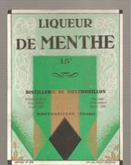 Etiquette Liqueur De Menthe 15° Distillerie De Montmorillon - Chromos