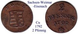 DL-1792, 2 Pfennig,  Sachsen Weimar-Eisenach - [ 1] …-1871 : Stati Tedeschi