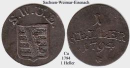 DL-1794, 1  Heller  Sachsen Weimar-Eisenach - Piccole Monete & Altre Suddivisioni