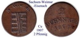 DL-1807, 2 Pfennig,  Sachsen Weimar-Eisenach - Piccole Monete & Altre Suddivisioni