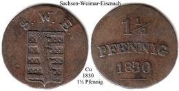 DL-1830, 1 1/2 Pfennig,  Sachsen Weimar-Eisenach - [ 1] …-1871 : Stati Tedeschi