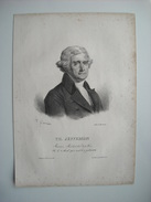 THOMAS JEFFERSON, 3EME PRESIDENT DES ETATS-UNIS. LITHOGRAPHIE DE 1830 PAR DUCARME ET H GARNIER.. - Lithographies