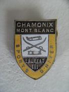 Broche Ancienne Sports D'Hiver LAUREAT III CHAMONIX MONT BLANC Ski Luge,métal émaillé - Winter Sports