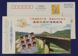 Railway Stewardess,Electric Locomotive Train On Bridge,China 2000 Xiangfan Railway Bureau Advertising Pre-stamped Card - Trenes