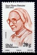 Saint Pierre And Miquelon, Sœur Pierre Fontaine, Nun, 2016, MNH VF - Unused Stamps