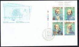 1987  Canadian Inventors: AM Radio, Newsprint Pulp, Half-tone Engraving, Undersea Cable  Sc 1135-8 UR Plate Block - Omslagen Van De Eerste Dagen (FDC)