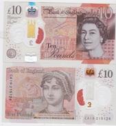 ENGLAND. £10   Recently Issued  New £ 10  POLIMER  Queen/Jane Austin   UNC - 1952-… : Elizabeth II