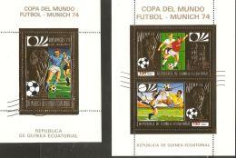 Equatorial Guinea 1973 Mi# Blocks 80, 82 Used - Gold Foil - World Cup Soccer Championships, Munich - Coppa Del Mondo
