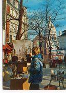 Artiste Peintre Peinture Paris Animée Place Du Tertre Le Sacré-Coeur à Montmartre - Pintura & Cuadros