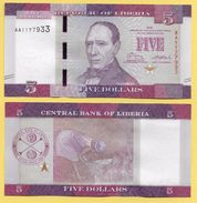 Liberia 5 Dollars P-31 2016 UNC - Liberia