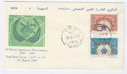 1969 LIBYA FDC Stamps SOCIAL INSURANCE Cover - Libya