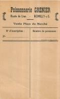 POISSONNERIE GRENIER ROUTE DE LION A ROMILLY SUR SEINE VENTE PLACE DU MARCHE  FORMAT 12.50 X 8 CM - 1900 – 1949
