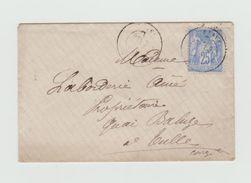 LSC 1878 - Sage 25c Bleu - Cachet TULLE - CORREZE Au Dos - 1877-1920: Periodo Semi Moderno