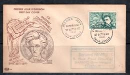 France  : 1er Jour (FDC) Rimbaud 27 Octobre 1951 Cachet Charleville - FDC
