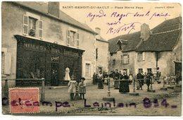 - Saint Benoît Du SAULT, ( Indre ), Place Hervé Super Animation,  Magasin, Rare, écrite, 1904, BE, Scans. - Francia