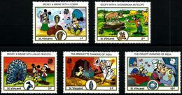 St. Vincent 1989 Disney Mickey Donald Duck India Cartoon Animation Childhood Places Animals Stamps (4) MNH Sc#1132-1139 - Childhood & Youth